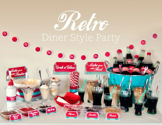 Retro Diner Party Set  INSTANT DOWNLOAD  Printable by HelloMySweet