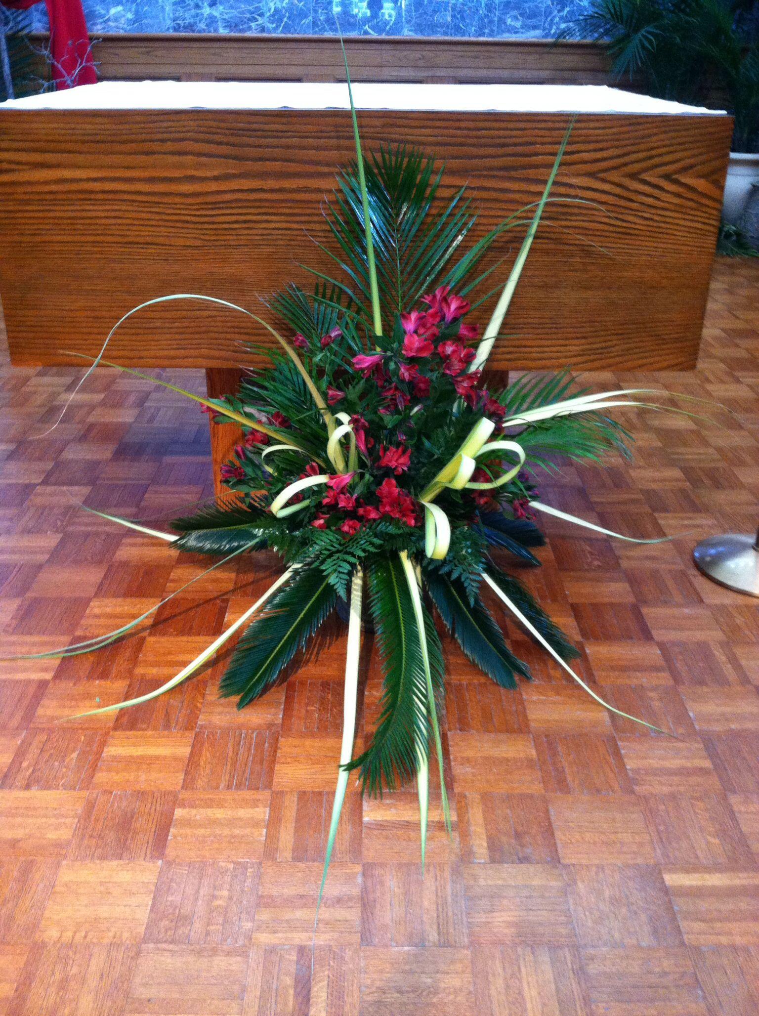 Altar arrangement Palm sunday decorations, Easter flower