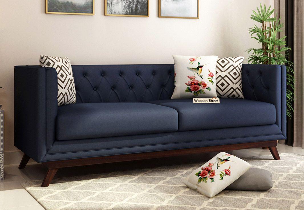 Buy Berlin 3 Seater Sofa (Fabric, Indigo Ink) Online in ...