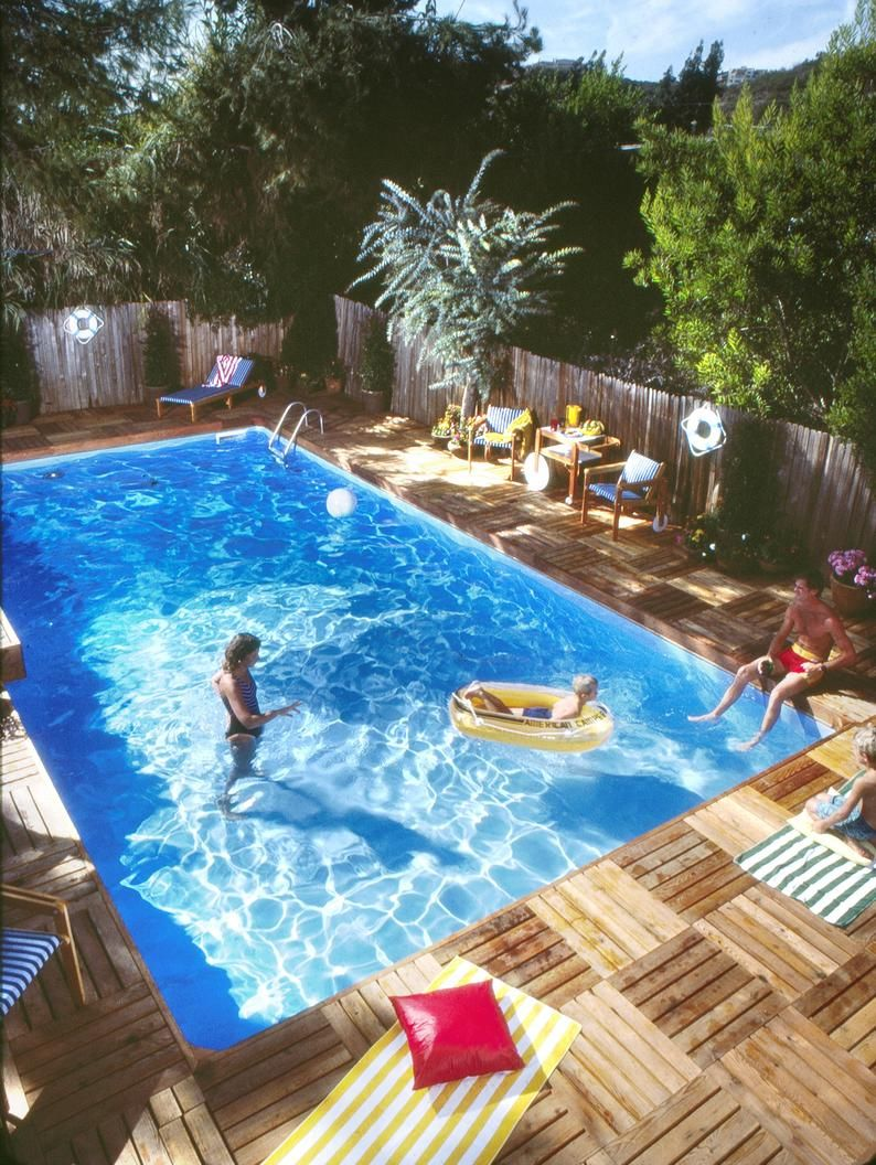 Swimming Pool And Deck Plans By Stevenson Projects Diy In Ground Pool Build Your Own Swimming Pool And Deck In 2020 Backyard Pool Swimming Pools Backyard Above Ground Pool Landscaping