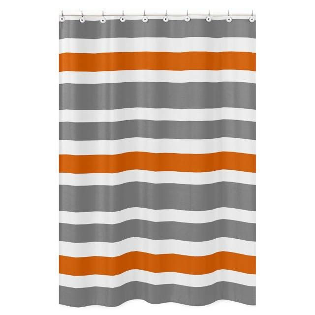 Product Image For Sweet Jojo Designs Grey And Orange Stripe Shower Curtain