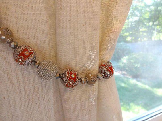 Beaded Curtain Tiebacks Indonesian Beads Curtain Tie Back
