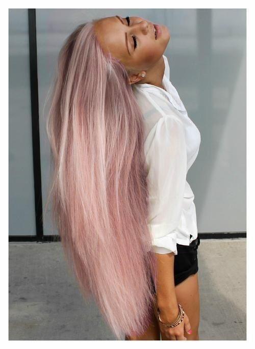 Pastel Pink Hair Tan Skin Lang Haar Krijgen Haar Haar Kokosolie