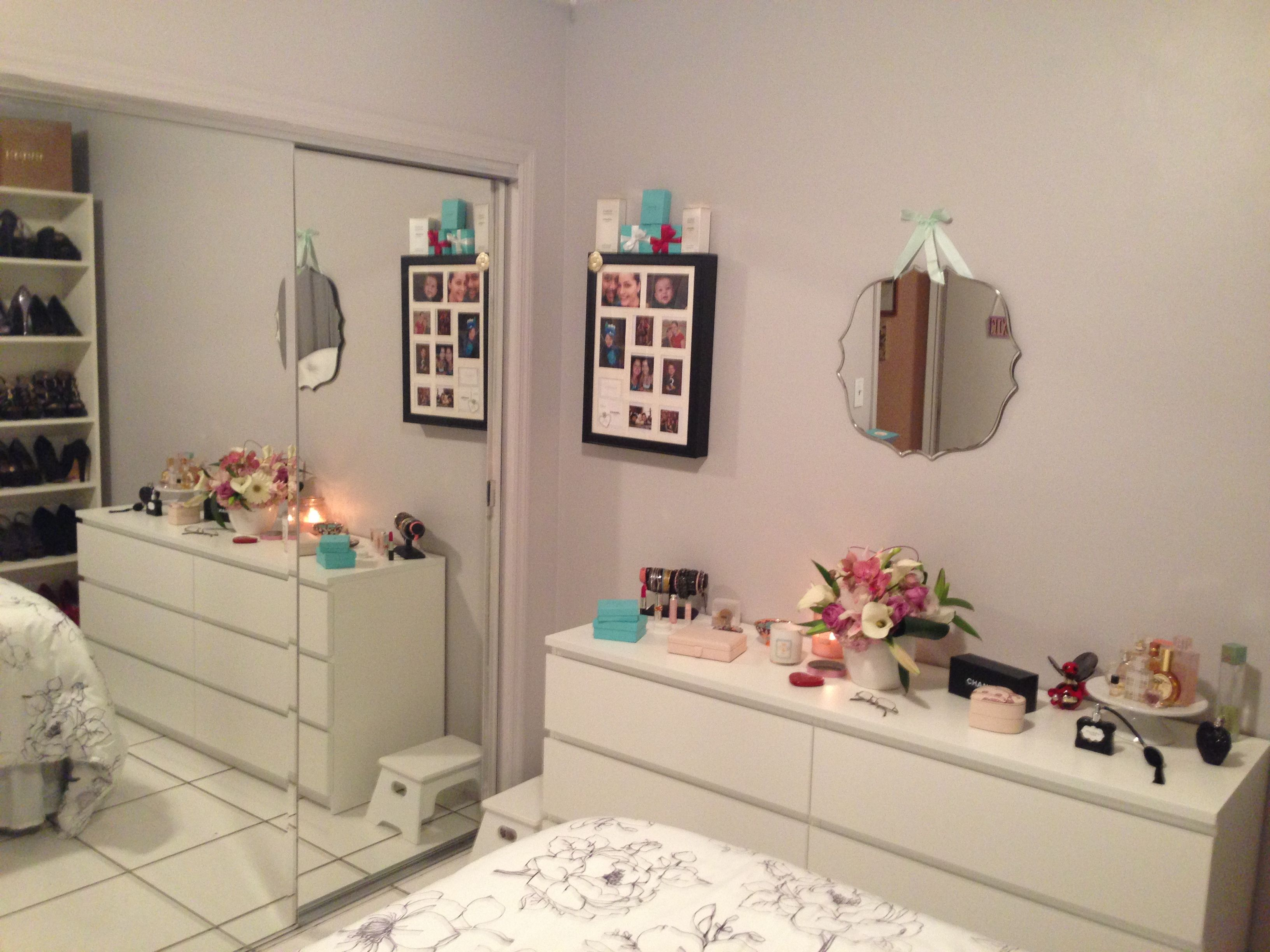 Ikea Malm Dresser. Target Wall Mirror, Photo Jewelry Box, Billy Book Cases.