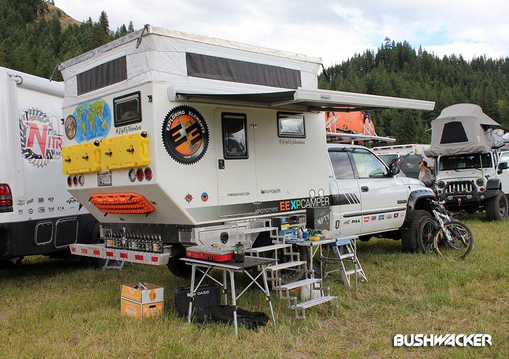 The Exploring Elements Dodge XP Camper with Bushwacker Pocket Style front flares.