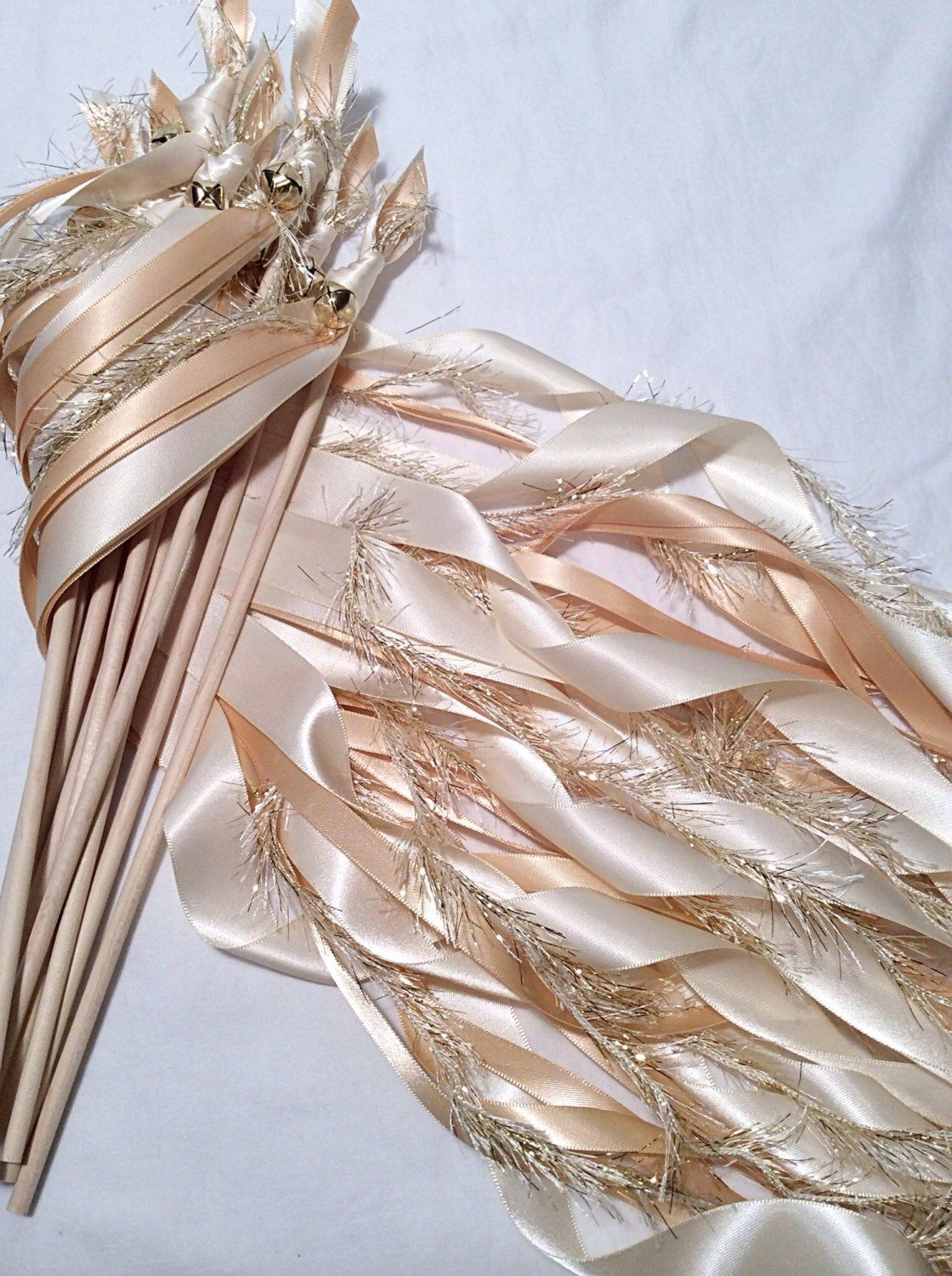 50 wedding wands ivory with bells ribbon streamer send off