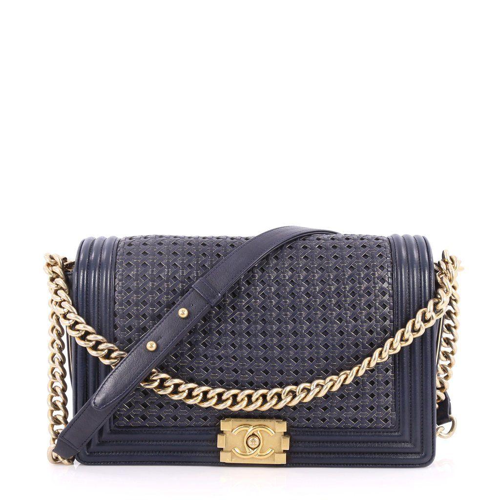 90feeabac05eed Buy Chanel Boy Flap Bag Braided Sheepskin New Medium Blue 2769405 – Trendlee