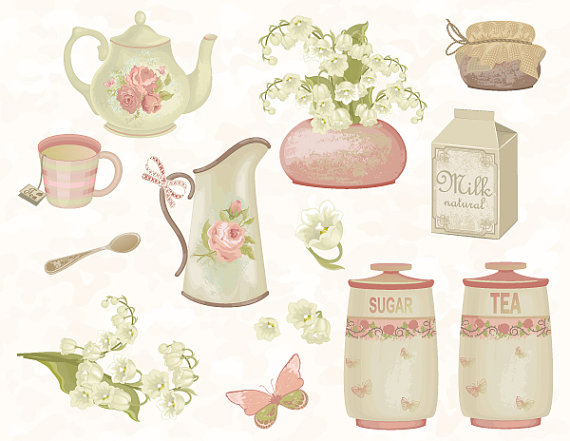 Digital High Tea Clip Art Shabby Chic Tea by TracyDigitalDesign