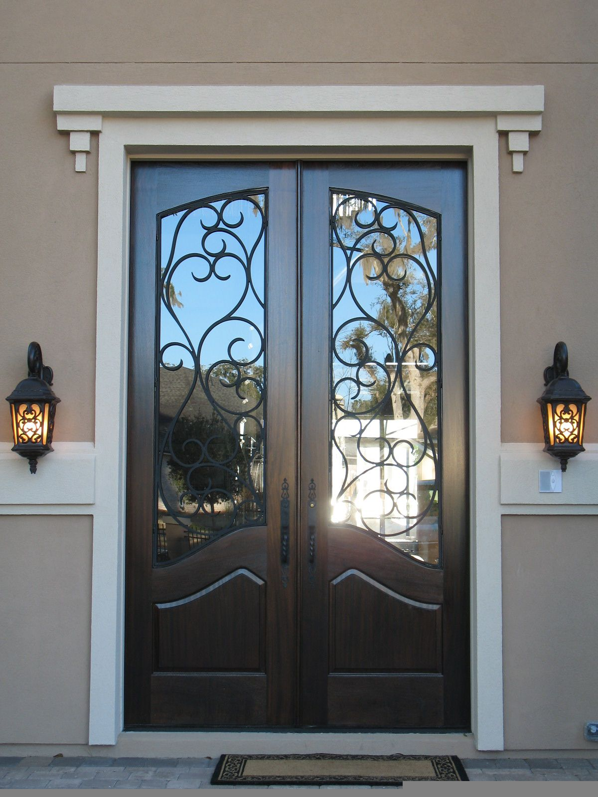 French wood front doors - Terrific France Steel Entry Door Design With Artistic Iron Work Exterior Doorsentry Doorswood