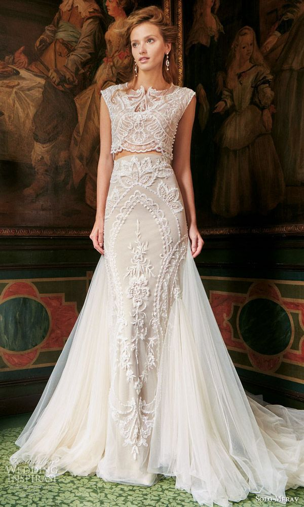 30 Jaw Droppingly Crop Top Two Piece Wedding Dresses Wedding