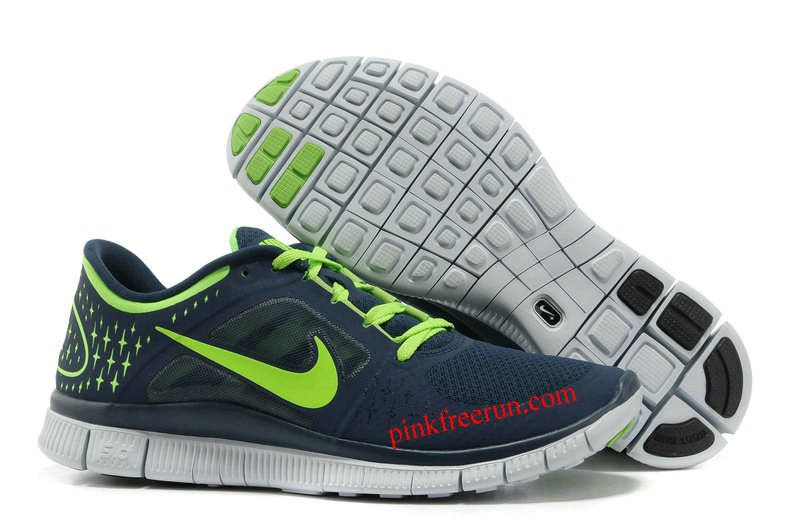 nike free run 3 dark blue electric green