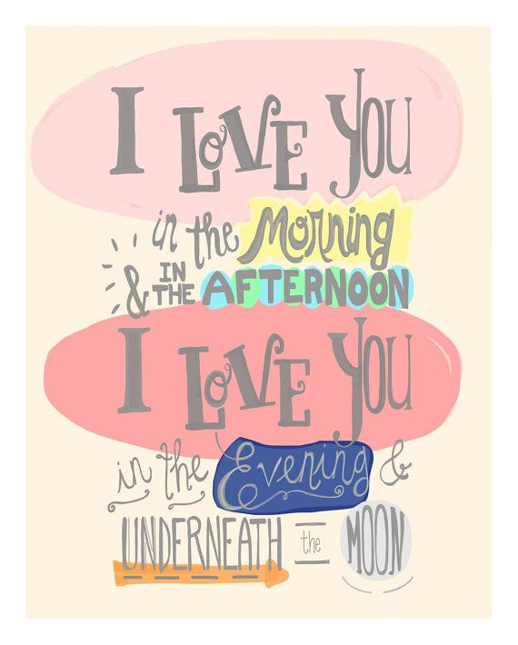 I Love You Print Nursery Quote Toddler Girl Wall Art Hand
