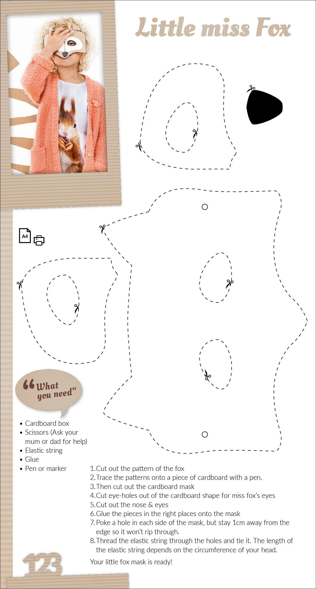 Little miss fox - cardboard mask template | DIY Crafts | Pinterest ...