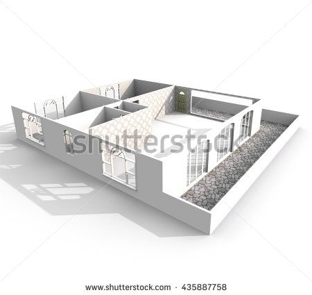 3d Interior Rendering Perspective View Of Empty Home Kitchen LivingLiving RoomEntrance DoorsBalconiesHallPerspectiveInterior