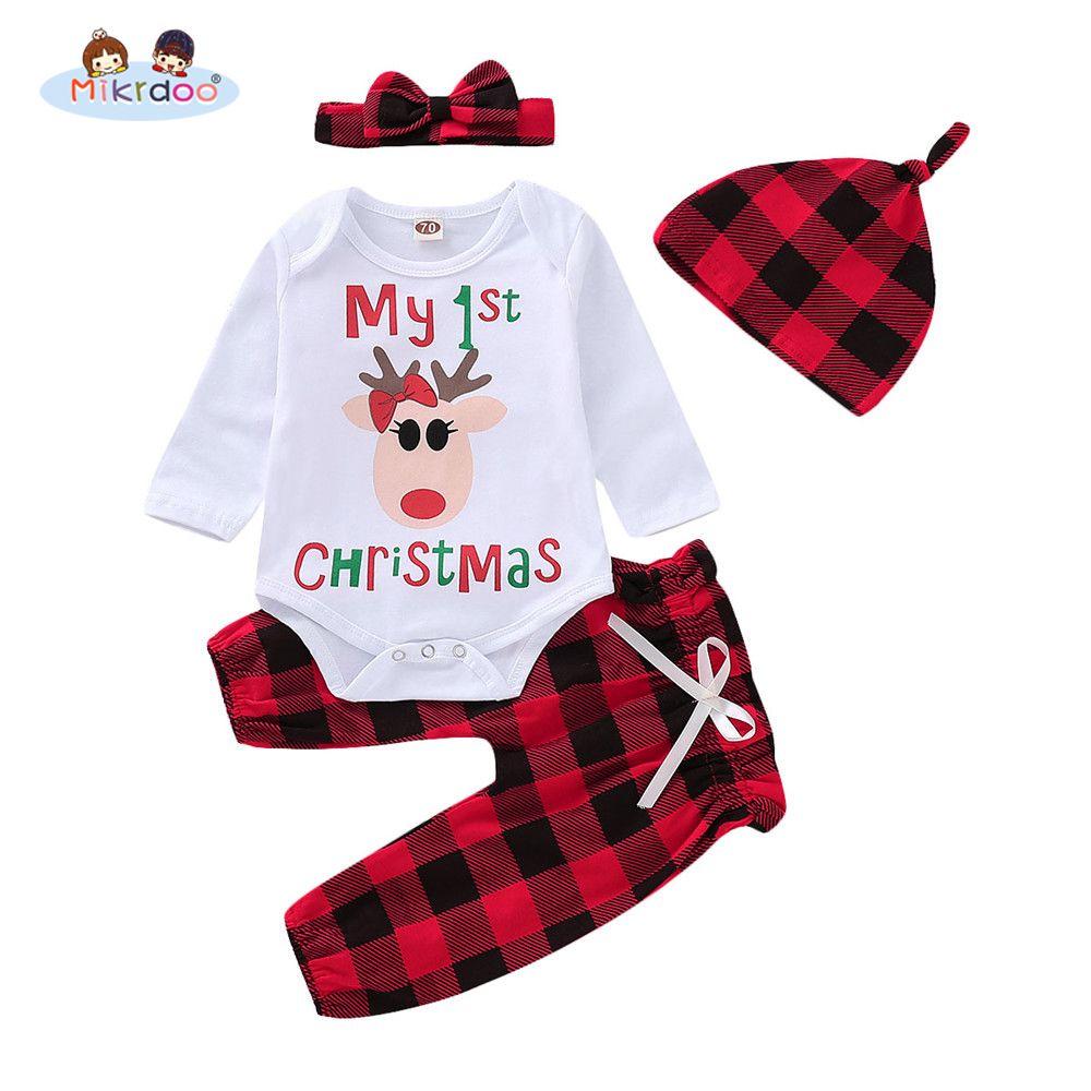 Toddler Newbonr Baby Boys Girls My1st Christmas Letters Print Clothes Set  Deer Print Romper Plaid Pant Hat Headband 4PCS Outfit fff1e6f58065