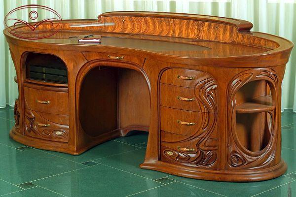 Desk Crafted From Oak Zebrano Leather By Master Furniture Artist Yuri Moshans Interieur Art Nouveau Mobilier Art Deco Design Art Nouveau