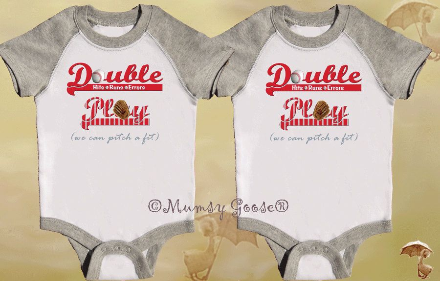Funny Twin Boys Bodysuits Set Grey One Pieces Raglan Romper By Mumsy Goose Boy