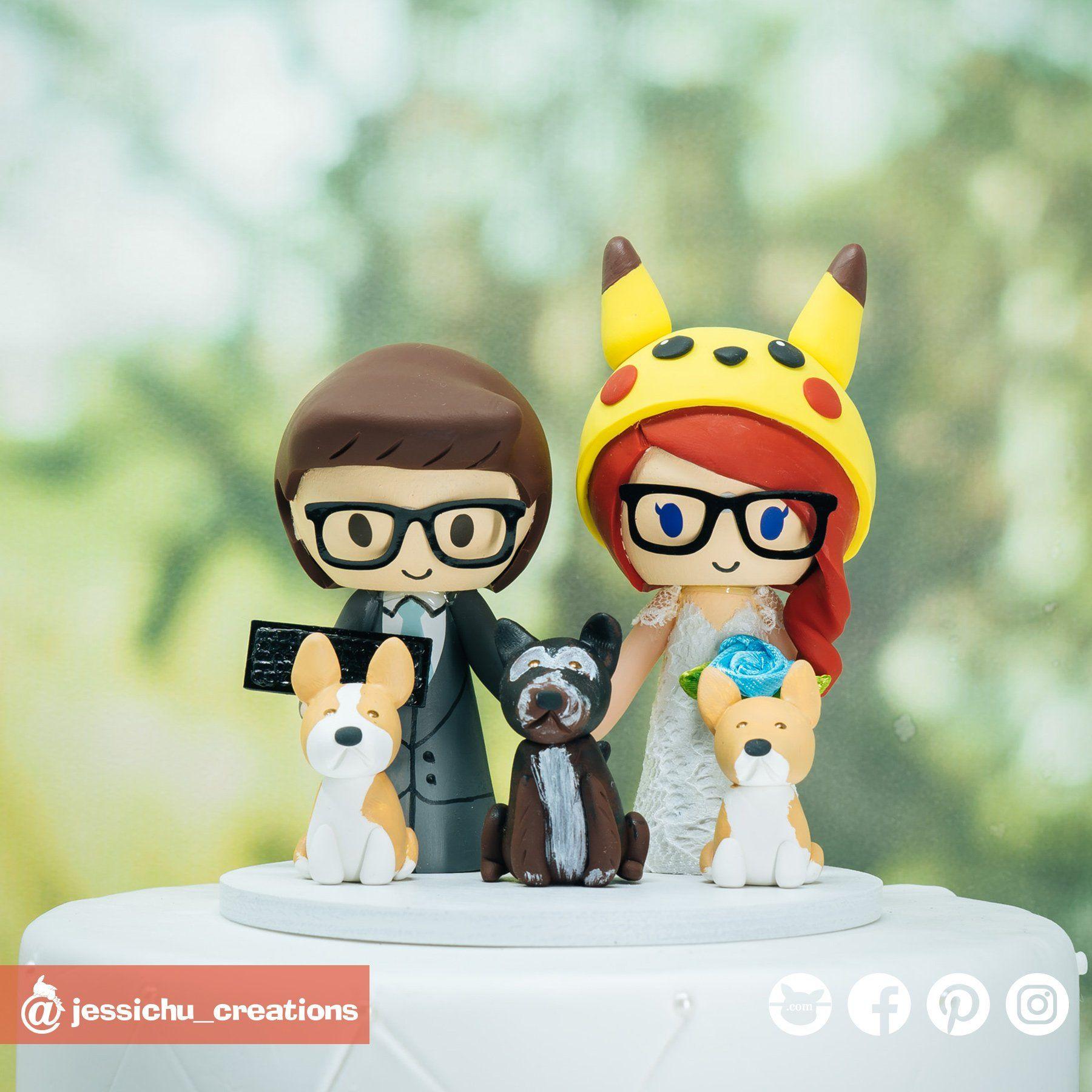 Gamer Groom & Pikachu Bride Inspired Nintendo Pokemon Custom Handmade Wedding Cake Topper