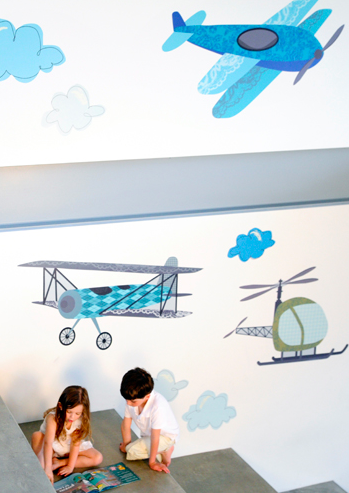 Airplanes and helicopters. Giant wall decals! Removable and reusable. By Pop  Lolli - Made in the U.S.A.