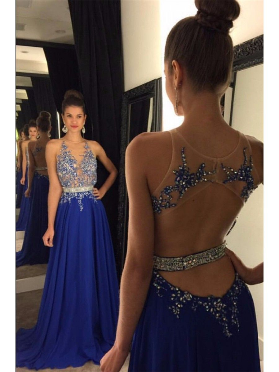 Long blue beaded lace appliques illusion bodice prom dresses party