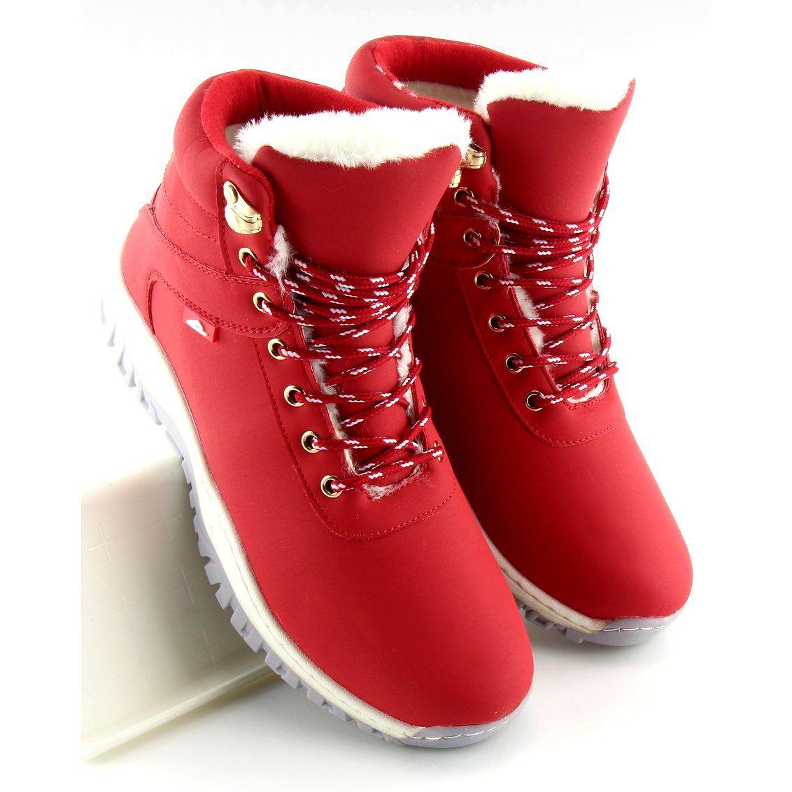 Botki Damskie Butymodne Buty Trekingowe Damskie Czerwone B1718 6 Boots Snow Boots Thigh High Boots