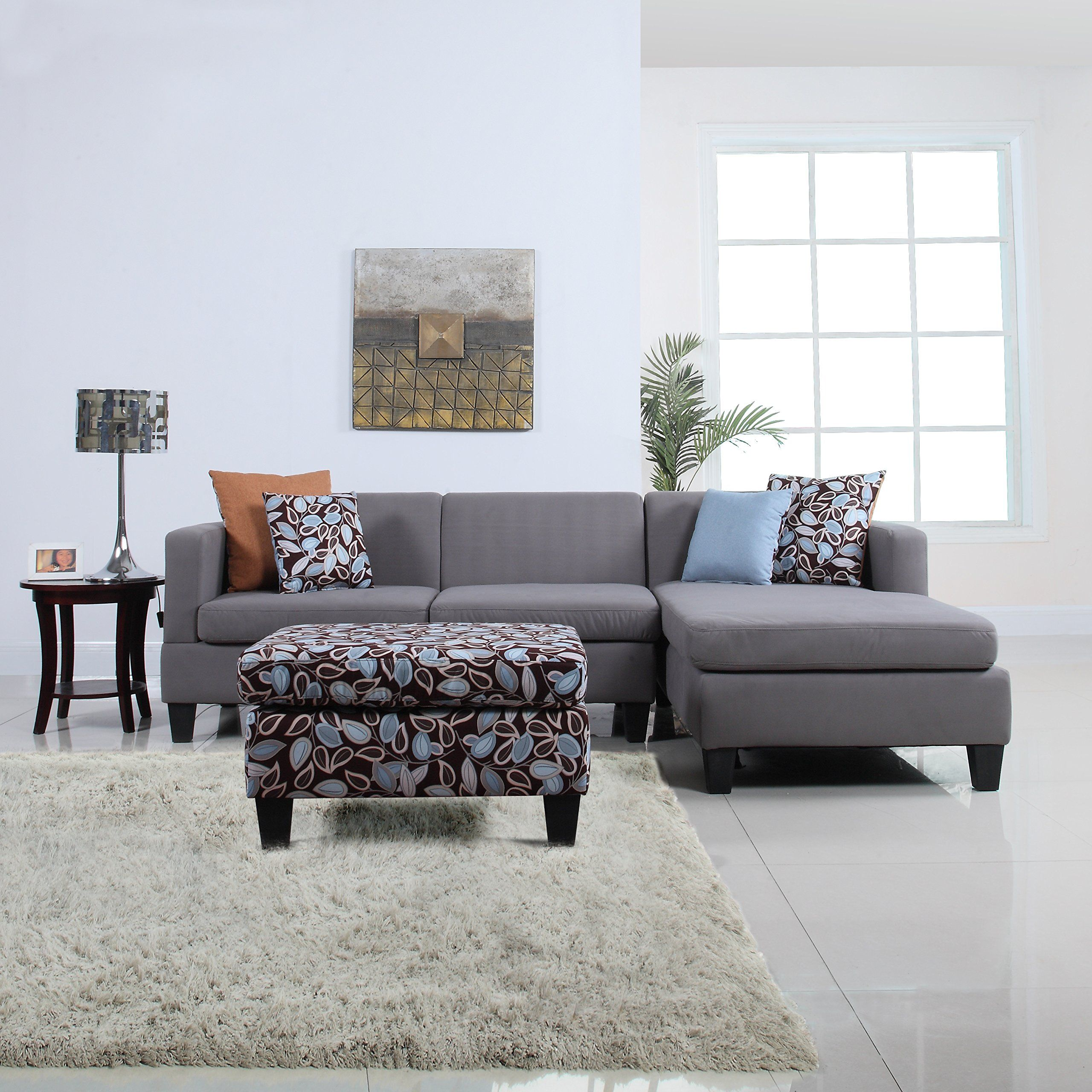 Best 3 Piece Modern Grey Sectional Sofa With Ottoman And Floral 400 x 300