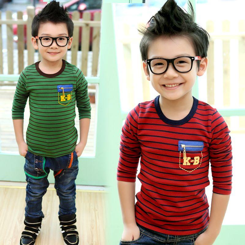 New 2014 Korean Kids Stripe baby boys long sleeve T shirt basic shirt z0936 small die  spring children's clothing  Fashion Wear-inT-Shirts f...