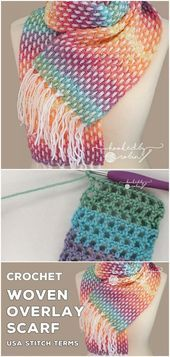 Photo of Heklet vevt overdekking skjerf – – #craftstodowhenbored #crochet #holidaycrafts # ….