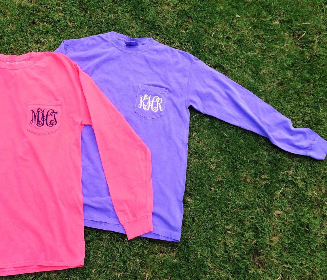 NEW COLORS!! Comfort Colors Long Sleeve Pocket Tee Monogram Shirt by LuLuBleuBoutique on Etsy https://www.etsy.com/listing/198976447/new-colors-comfort-colors-long-sleeve