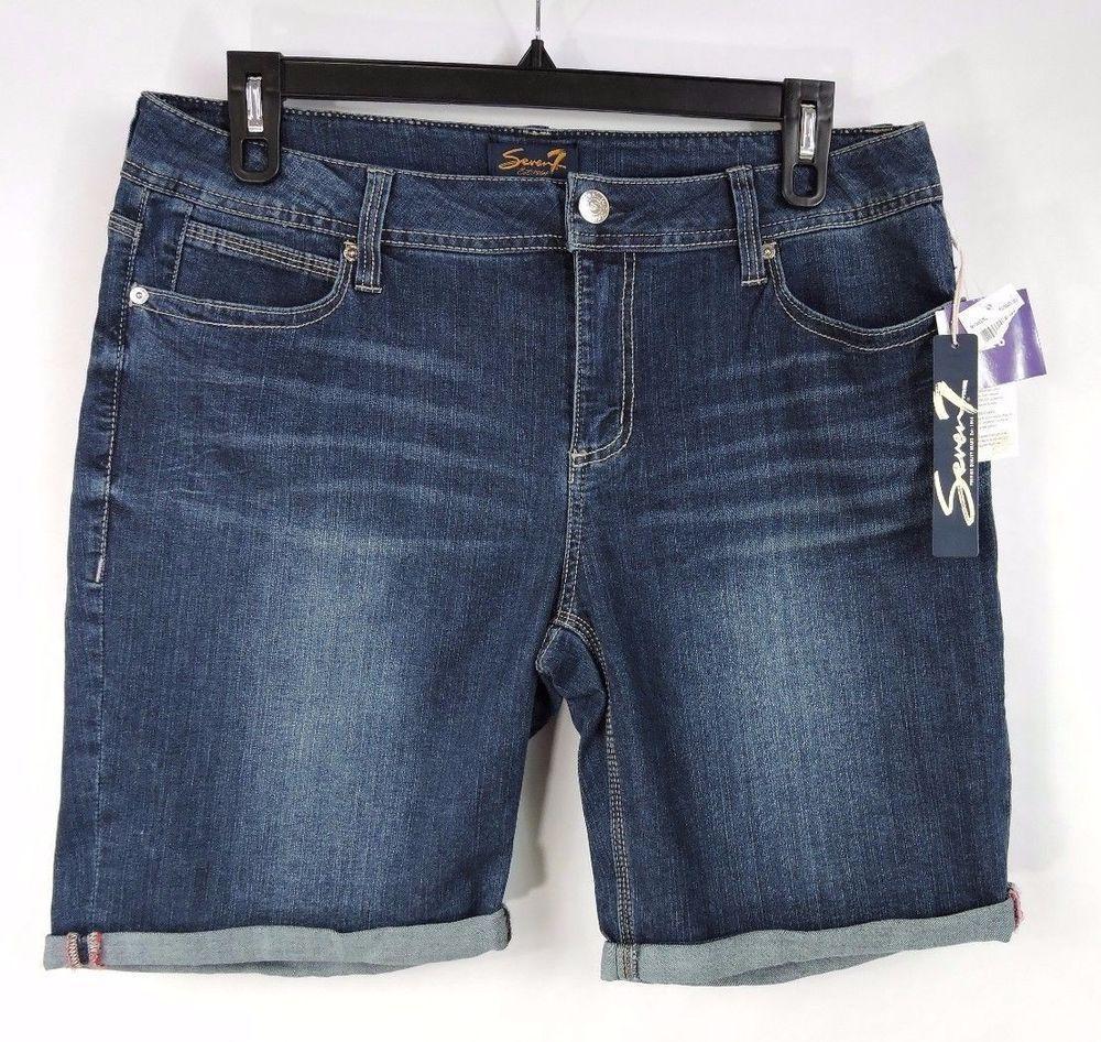 710d9a4742b42 Seven 7 Women Blue Cuffed Bermuda Jean Shorts Size 16 New  Seven7   BermudaWalking