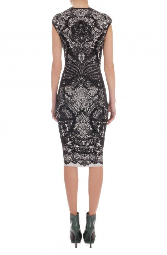 Alexander Mcqueen Black Victorian Puckering Lace Jacquard Cap-Sleeve Pencil Dress 4