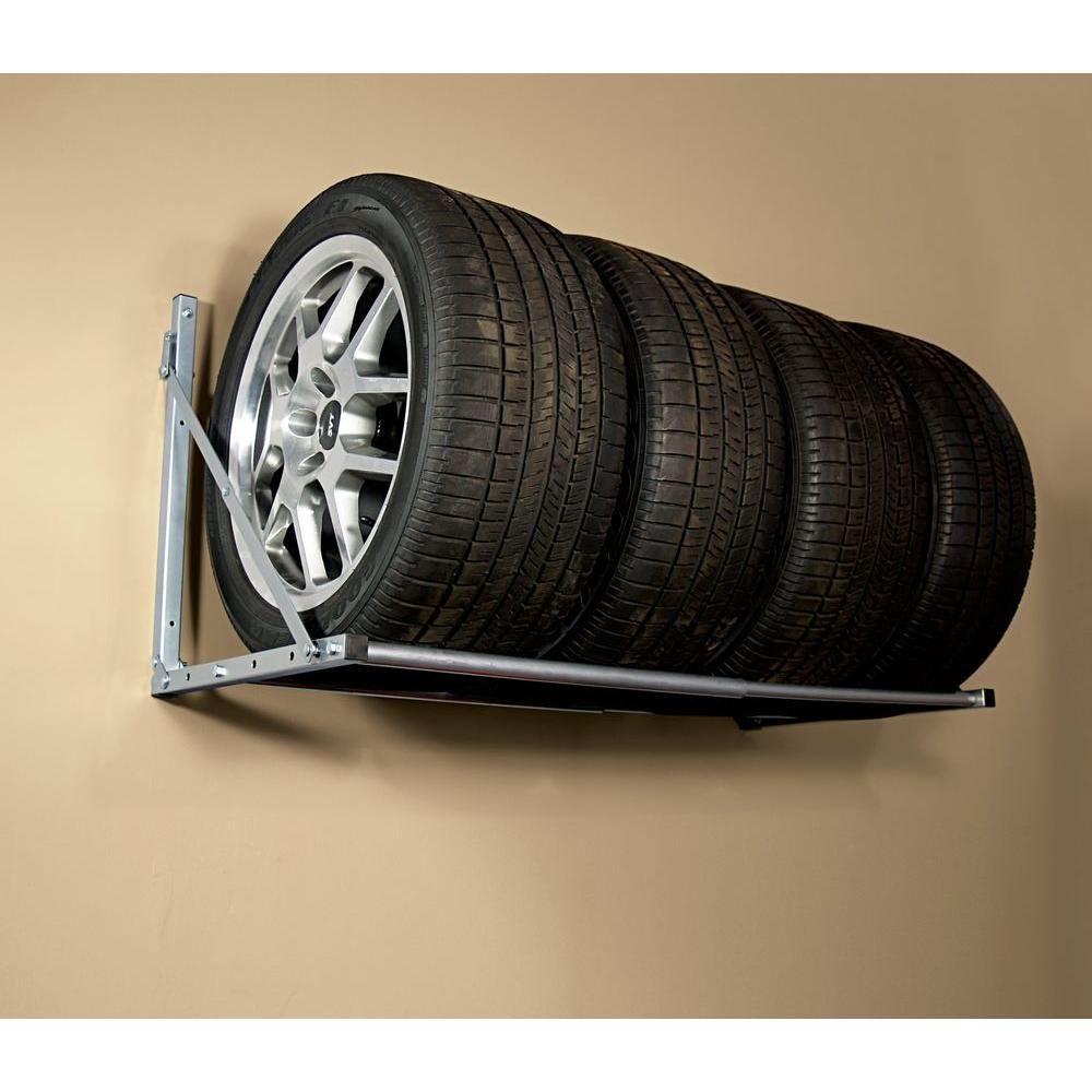 HyLoft 48 in. W Adjustable Folding Garage Wall Tire Rack, Silver