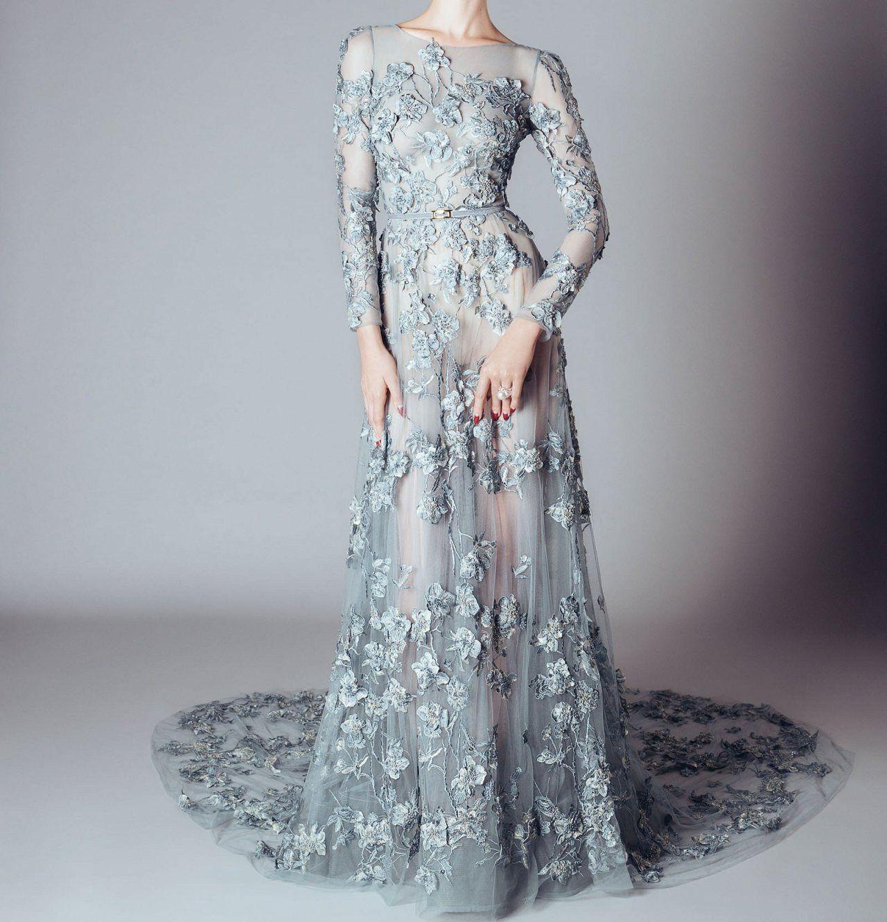 2018 Prom Dress Sheath/Column Bateau Brush Train Long Sleeve Silver ...
