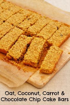 Oat Coconut Carrot And Chocolate Chip Cake Bars