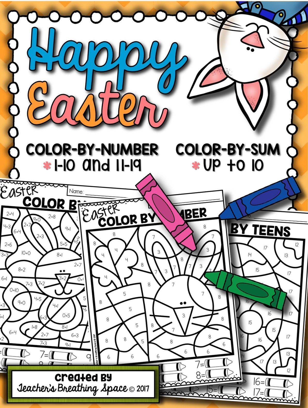 Easter Color By Number 1 10 Amp 11 19 Color By Sum Up To