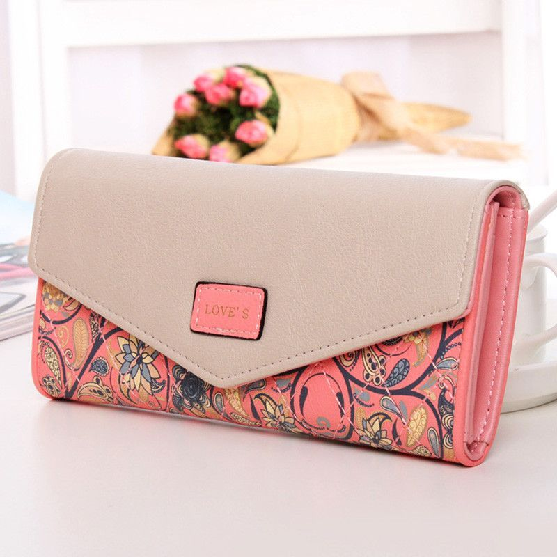 33c0d3bb5a3e Newest Fashion Women Wallet Color Flowers Printing Zip PU Leather ...