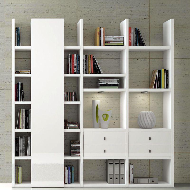Wohnwand Bücherregal TOLEO238 Hochglanz weiß Jetzt bestellen unter - wohnzimmer wohnwand weiß