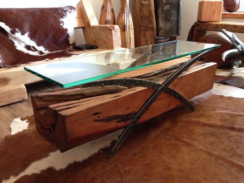 Mesa centro madero con fierro forjado reciclado y cubierta - Cristales para mesas redondas ...