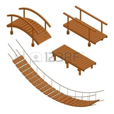 Dessin Pont Pont Suspendu En Bois En Bois Et La Pendaison Des Illustrations Vectorielles De Pont Flat 3d Isometrique Jeu Pont Suspendu Pont Dessin
