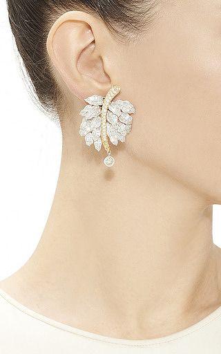 Helen Yarmak International One Of A Kind Green Diamond Leaf Earrings