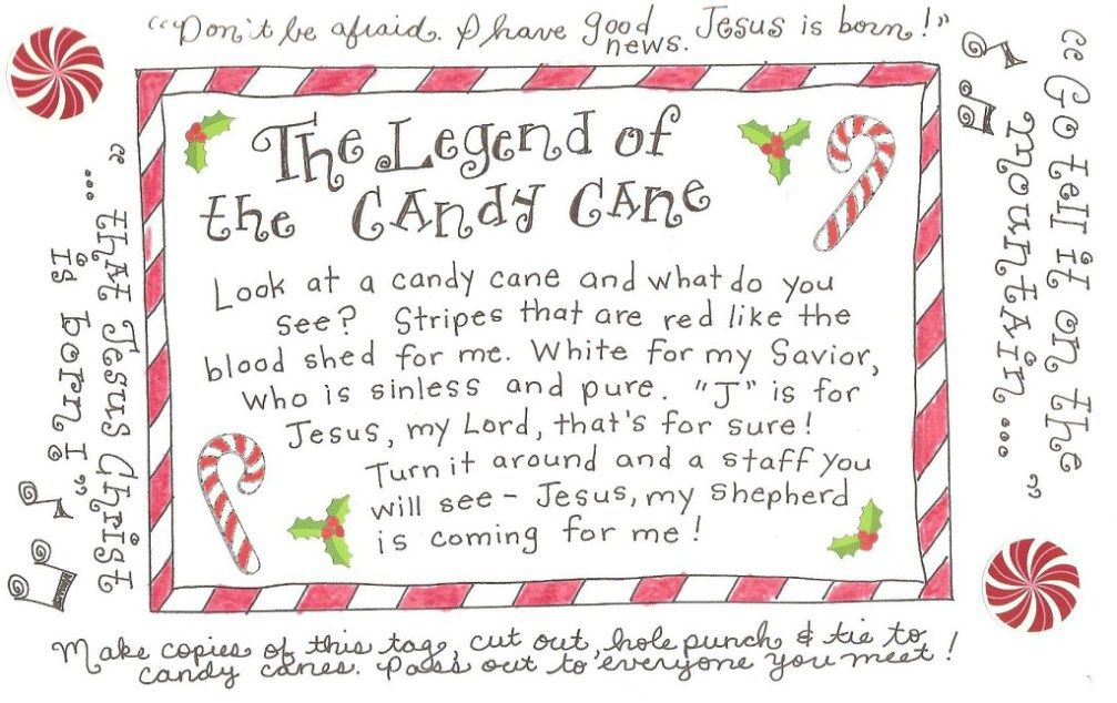The Legend of the Candy Cane - FREE Printable Tag Candy canes
