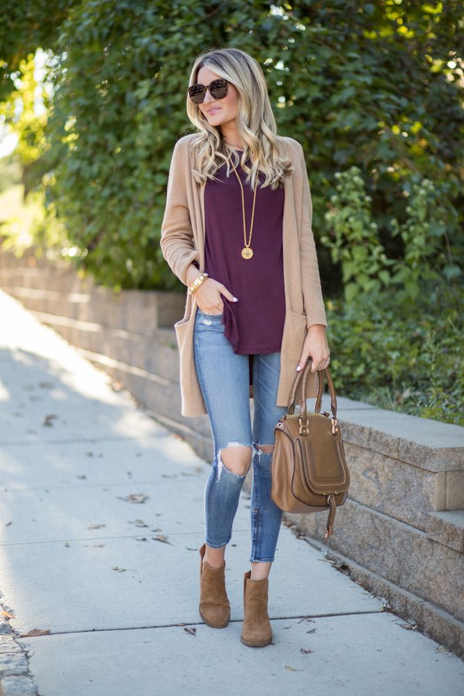 99a46240d8 Tan Cardigan + Side Cutout Booties (Blonde Expeditions)