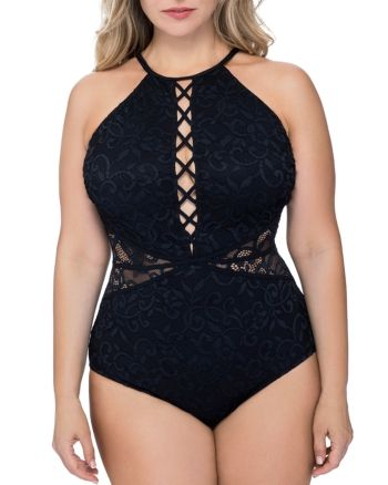 Profile by Gottex Plus Profile by Gotex Plus Shamilar High-Neck One Piece Swimsuit  Women - Bloomingdale's 15