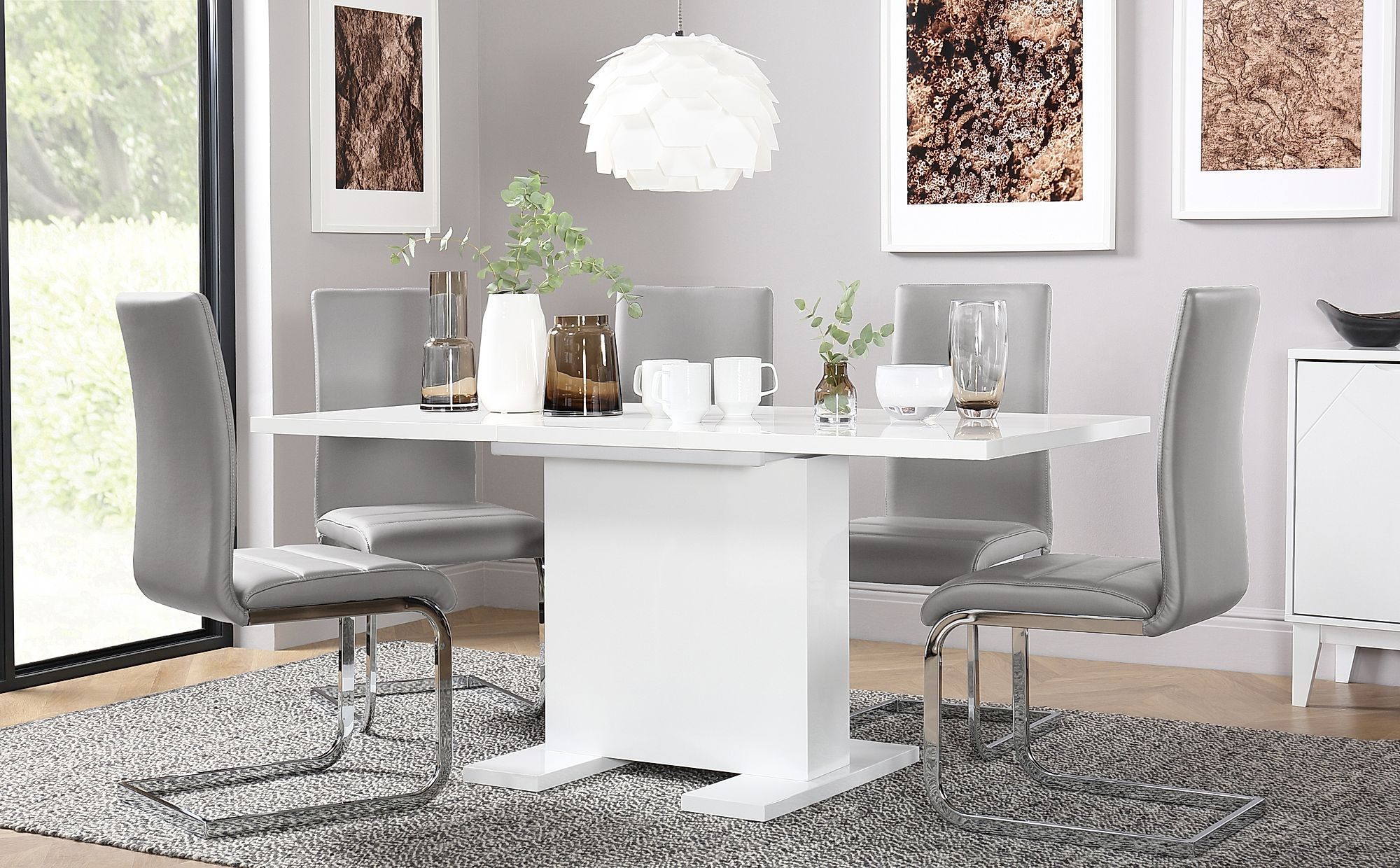 Osaka White High Gloss Extending Dining Table With 4 Perth Light