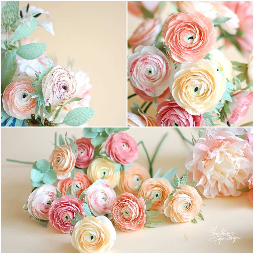 Christine Paper Design Paper Ranunculus Paper Flowers Pinterest