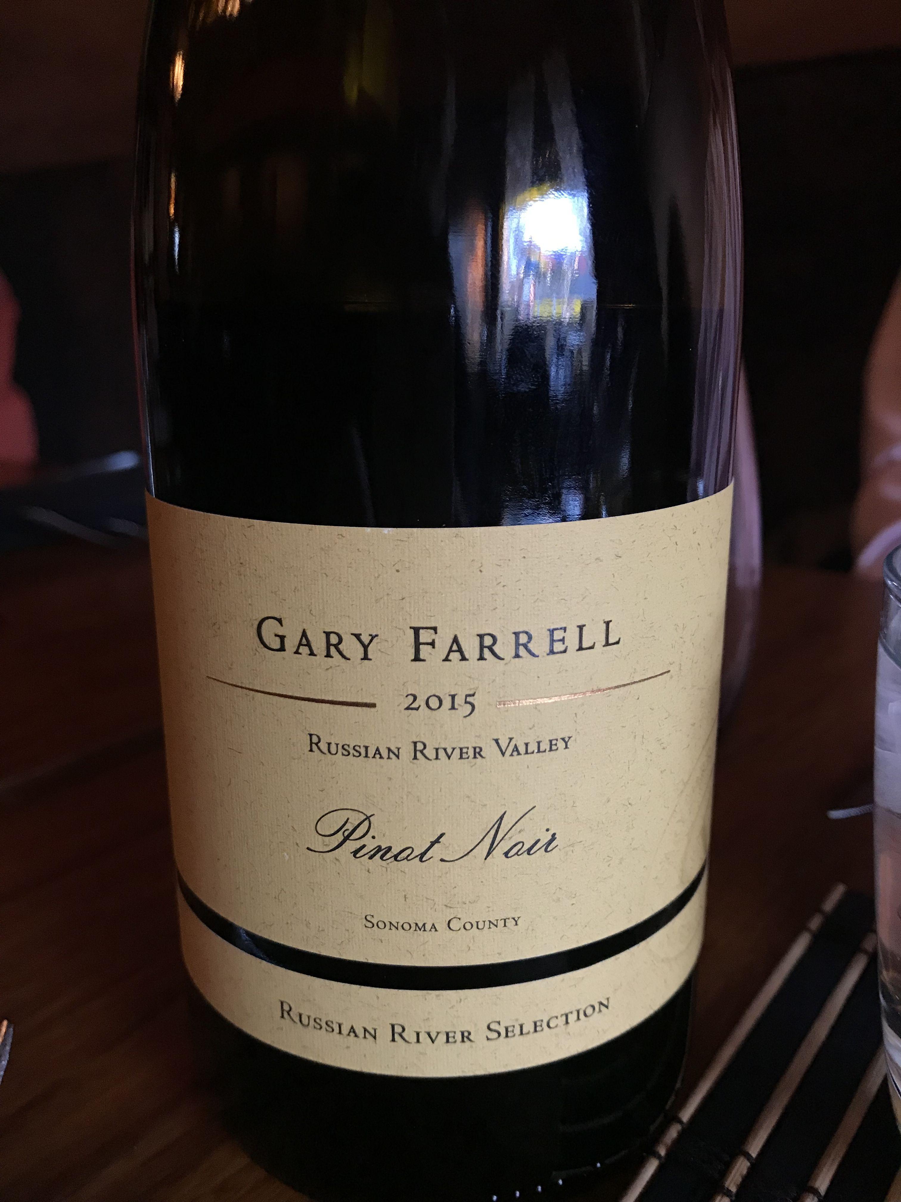 Gary Farrell 2015 Russian River Valley Pinot Noir Sonoma County Russian River Selection 8 10 Russian River Valley Pinot Pinot Noir