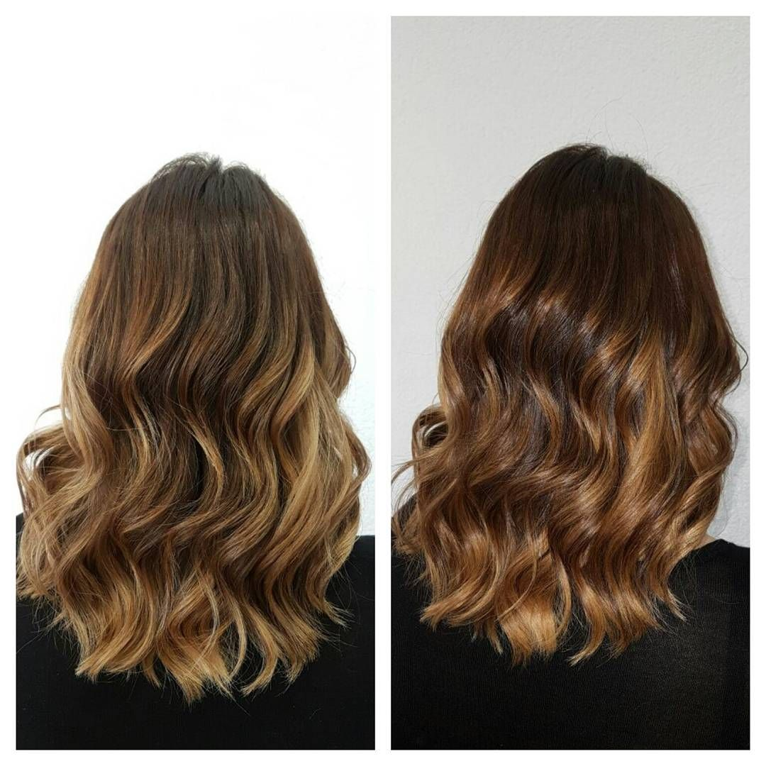 Meet tiger eye hair. pattern of bronze, gold, and dark brown stripes. apply the hues using the balayage technique. add warmth and dimension to your hair.