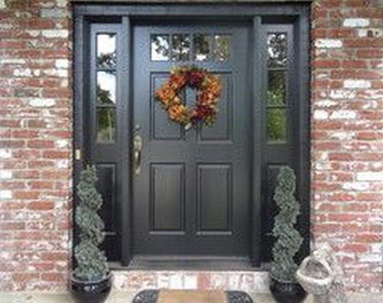 45 Amazing Exterior Paint Colors Ideas With Red Brick Brick House Front Door Colors Painted Exterior Doors Black Exterior Doors