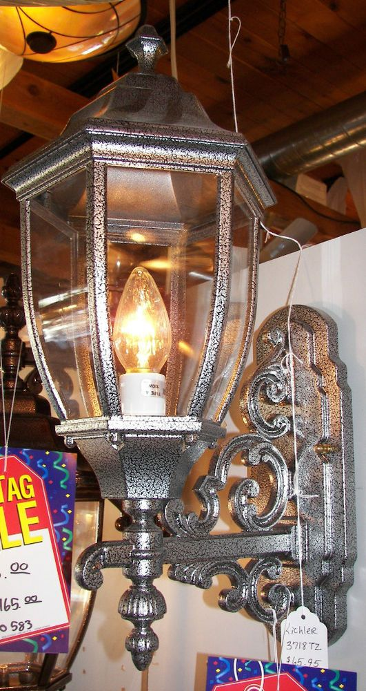 Large Outdoor Coach Light Dinico 584 Hammered Silver Cast