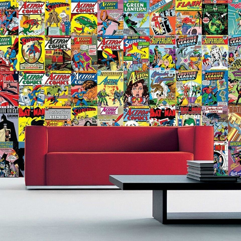 Wallpaper #Retro #Comic #DC #Creative #Collage #Wall #Mural #Decor ...